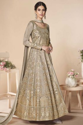 Beige Color Zari Embroidery Work Mulberry Silk Anarkali Salwar Suit