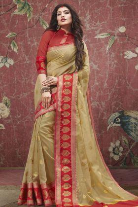 Beige Cotton Festive Saree