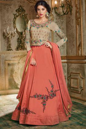 Beige Designer Embroiderd Anarkali Suit