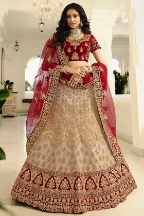Beige Embroidered Pure German Zari Silk Lehenga Choli For Bridal