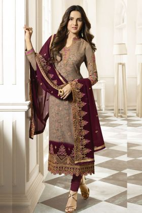 Beige Georgette Embroidery Salwar Suit Online