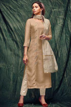 Beige Hand Work Designer Fancy Kurti For Girls