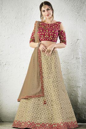 Beige Jacquard Silk Designer Lehenga Choli
