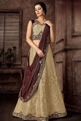 Beige Jacquard Silk Designer Lehenga