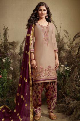 Beige Jam Silk Cotton Punjabi Suit