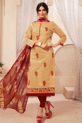 Beige Modal Silk Straight Suit Online
