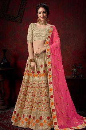 Beige Nylon Satin Bridal Lehenga Choli Online