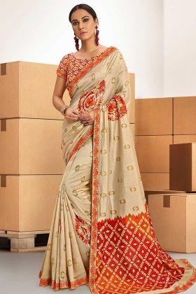 Beige Printed Chanderi Silk Saree Blouse Design