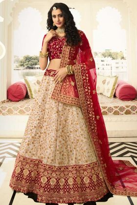 Beige Pure German Zari Silk Bridal Lehenga Choli In Stone Work