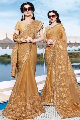 Beige Satin Chiffon Embroidery Saree
