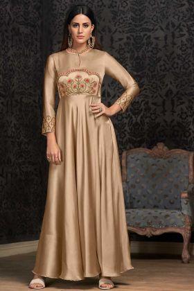 Beige Satin Silk Fancy Gown Online
