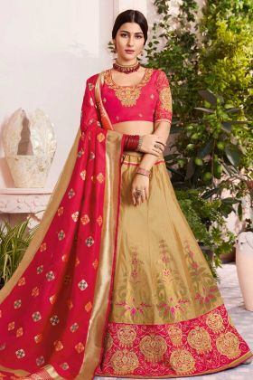 Beige Silk Jacquard Wedding Lehenga Choli With Embroidery Work