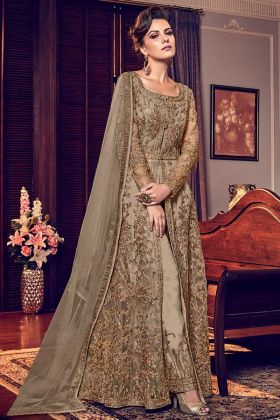 Beige Soft Net Anarkali Semi Stiched Salwar Suit