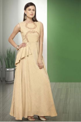 Beige Two Tone Cotton Party Wear Gown