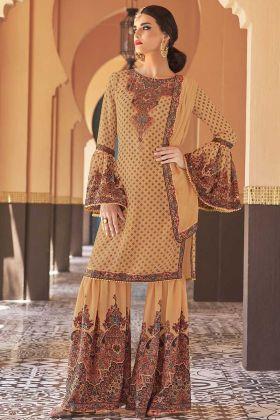 Beige Yellow Color Georgette Sharara Salwar Suit With Chiffon Dupatta
