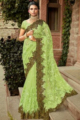 Best Designer Indian Saree With Net Fabric Light Green Color