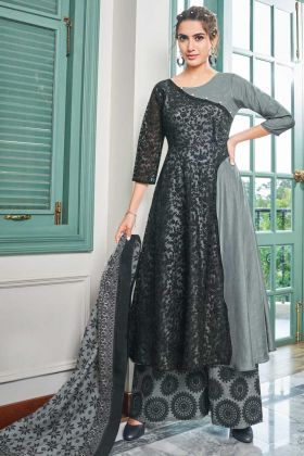 Black And Grey Maslin Anarkali Party Wear Salwar suit
