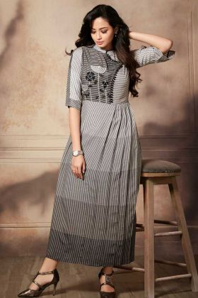 Black And White Designer Readymade Kurti Pattern