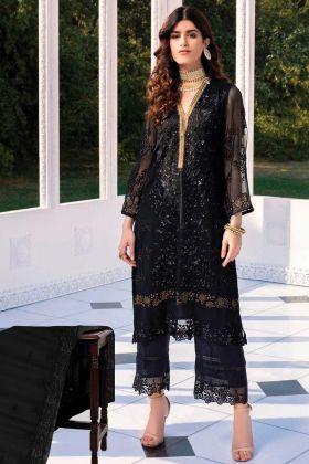 Black Butterfly Net Designer Pakistani Suit With Net Dupatta