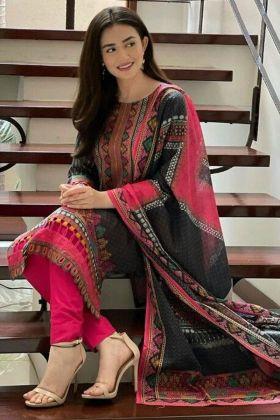Black color Actress Sana Javed Digital Print Pakistani Salwar Kameez
