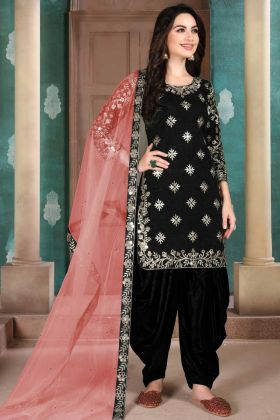 Black Color Art Silk Top With Peach Net Dupatta
