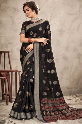 Black Color Chanderi Resham And Jari Work Saree