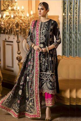 Black Color Fantastic Faux Georgette Heavy Embroidered Semi Stitched Pakistani Eid Salwar Suit