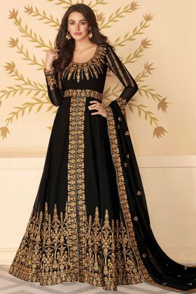 Black Color Georgette Heavy Embroidered Traditional Anarkali Dress