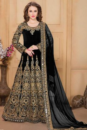 Black Color Heavy Embroidered Anarakali Dress In Taffeta Silk