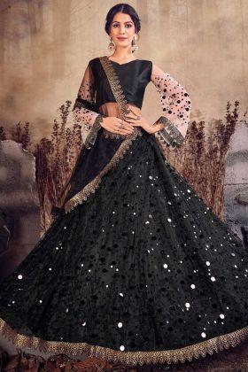 Black Color Jari Embroidery Heavy Net Lehenga Choli