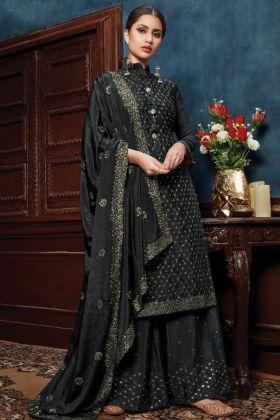 Black Color Pretty Looking Chiffon Heavy Woman Wedding Dress