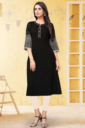 Black Color Rayon Flex Readymade Kurti Online