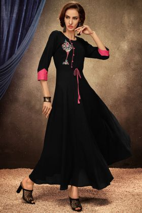 Black Color Rayon Readymade Gown Online