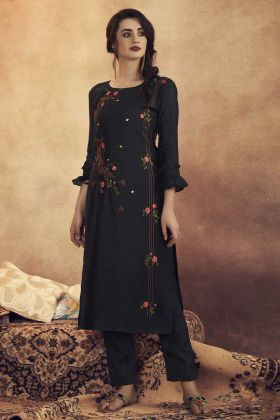 Black Color Readymade Pair Of Kurti With Bottom Online