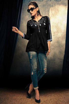 Black Color Readymade Top For Women