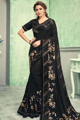 Black Color Sequins Embroidery Foil Printed Saree