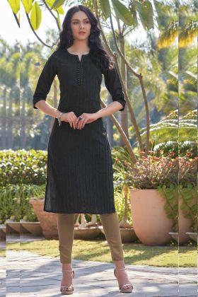 Black Color South Cotton Simple Kurti Design