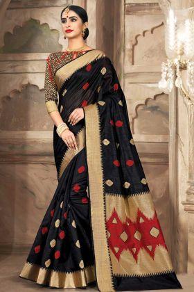 Black Cotton Handloom Saree In Weaving Work