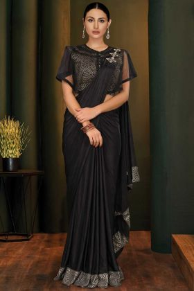 Black Fancy Lycra Traditional Party Wear Sarees