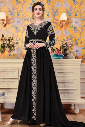 Black Georgette Anarkali Gown For Girls