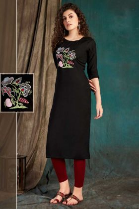 Black Rayon Slub Simple Kurti