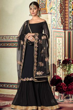 Black Sharara Suit For Wedding In Georgette Fabric