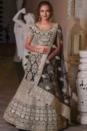 Black Wedding Wear Heavy Designer Lehenga Choli In Net Fabric