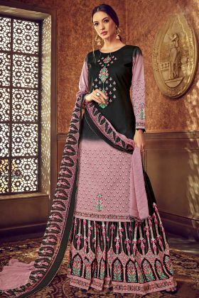 Black and Baby Pink Color Pure Cotton Palazzo Suit With Discharge Digital Printed Work
