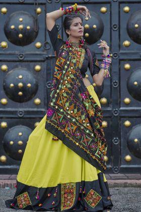 Black and Green Soft Cotton Navratri Chaniya Choli