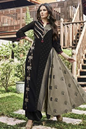 Black and Grey Modal Jacquard Stylish Kurti