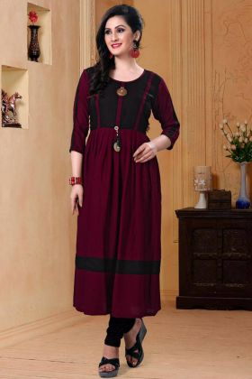 Black and Maroon Color Kurti
