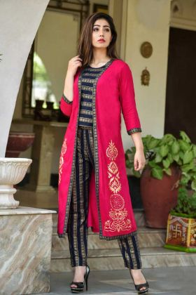 Black and Pink Embroidery Work Rayon Latest Jacket Style Kurti