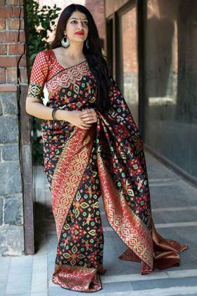Black And Red Banarasi Patola Silk With Weaving Work