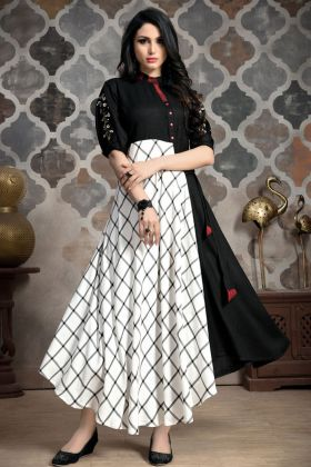 Black And White Anarkali Kurti